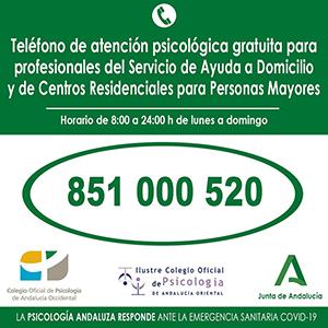 El teléfono de atención psicológica gratuita para profesionales del Servicio de Ayuda a Domicilio y de Centros Residenciales para Personas Mayores